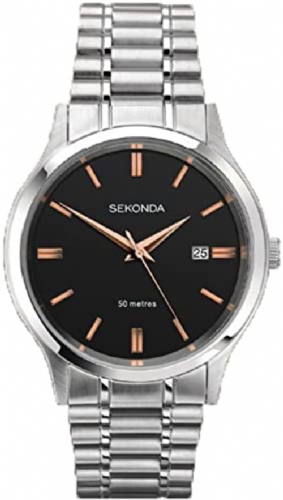 1192 Sekonda Men's Round  Black Dial Silver Coloured Bracelet Watch With Date Feature